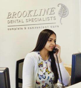 Front desk receptionist at Brookline Dental Specialists